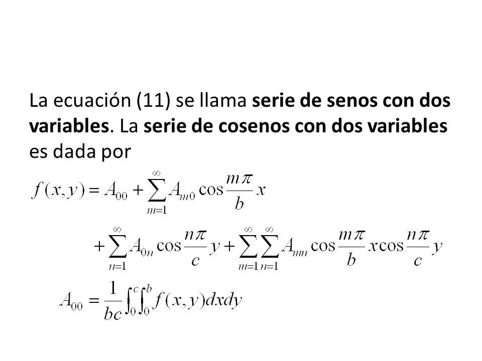 La ecuación (11) se llama serie de senos con dos variables. La serie de cosenos con dos variables es dada por