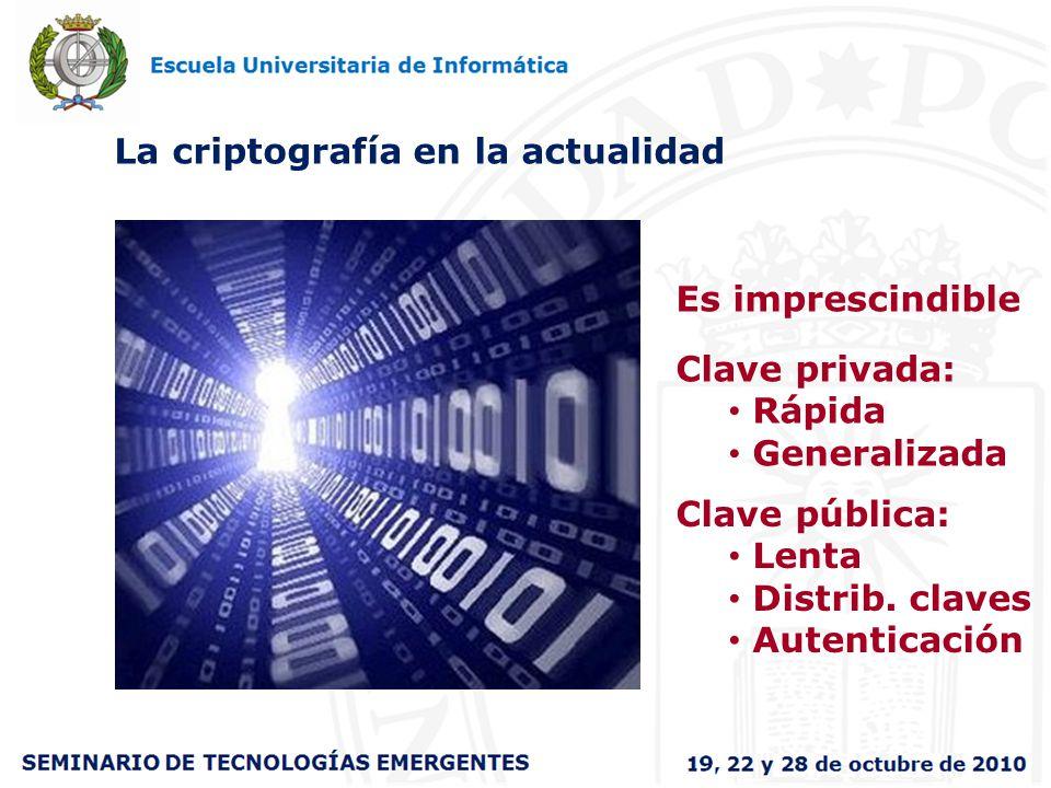La criptografía en la actualidad Es imprescindible Clave privada: Rápida Generalizada Clave pública: Lenta Distrib. claves Autenticación