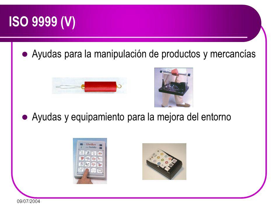 09/07/2004 ISO 9999 (V) Ayudas para la manipulación de productos y mercancías Ayudas y equipamiento para la mejora del entorno