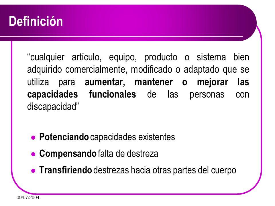 09/07/2004 Importancia Limitación Independencia funcional Ayudas técnicas Entorno discapacitante tecnología entorno instalaciones trabajo ocio hogar Vida independiente