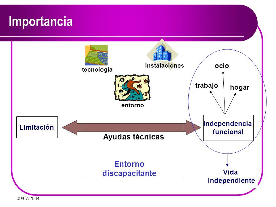 09/07/2004 Importancia Limitación Independencia funcional Ayudas técnicas Entorno discapacitante tecnología entorno instalaciones trabajo ocio hogar V