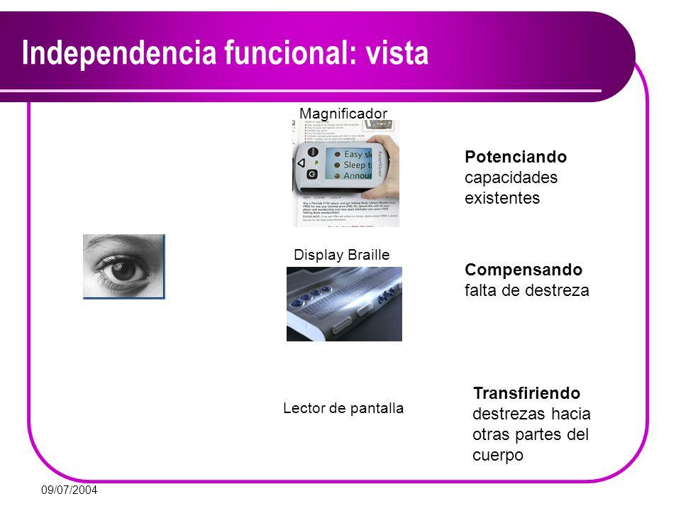 09/07/2004 Independencia funcional: vista Compensando falta de destreza Transfiriendo destrezas hacia otras partes del cuerpo Potenciando capacidades