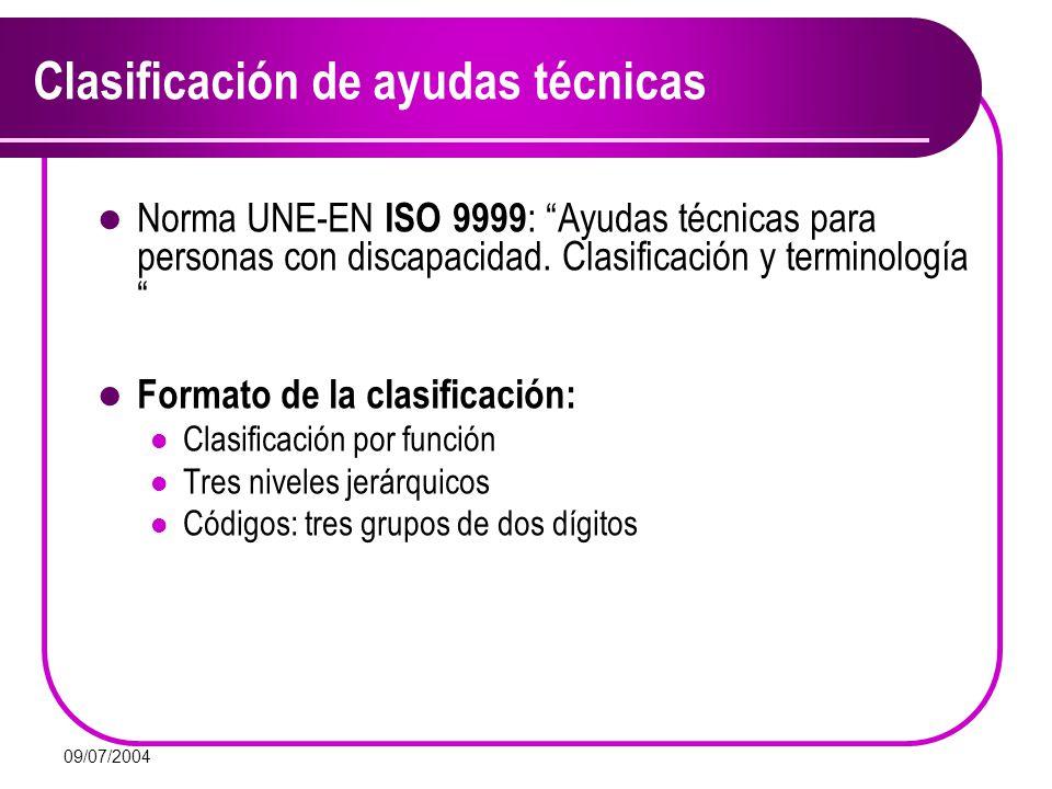 09/07/2004 Norma UNE-EN ISO 9999 : Ayudas técnicas para personas con discapacidad. Clasificación y terminología Formato de la clasificación: Clasifica