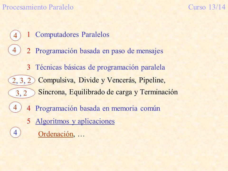 Procesamiento ParaleloCurso 13/14 1Computadores Paralelos 2Programación basada en paso de mensajes 3Técnicas básicas de programación paralela Compulsi