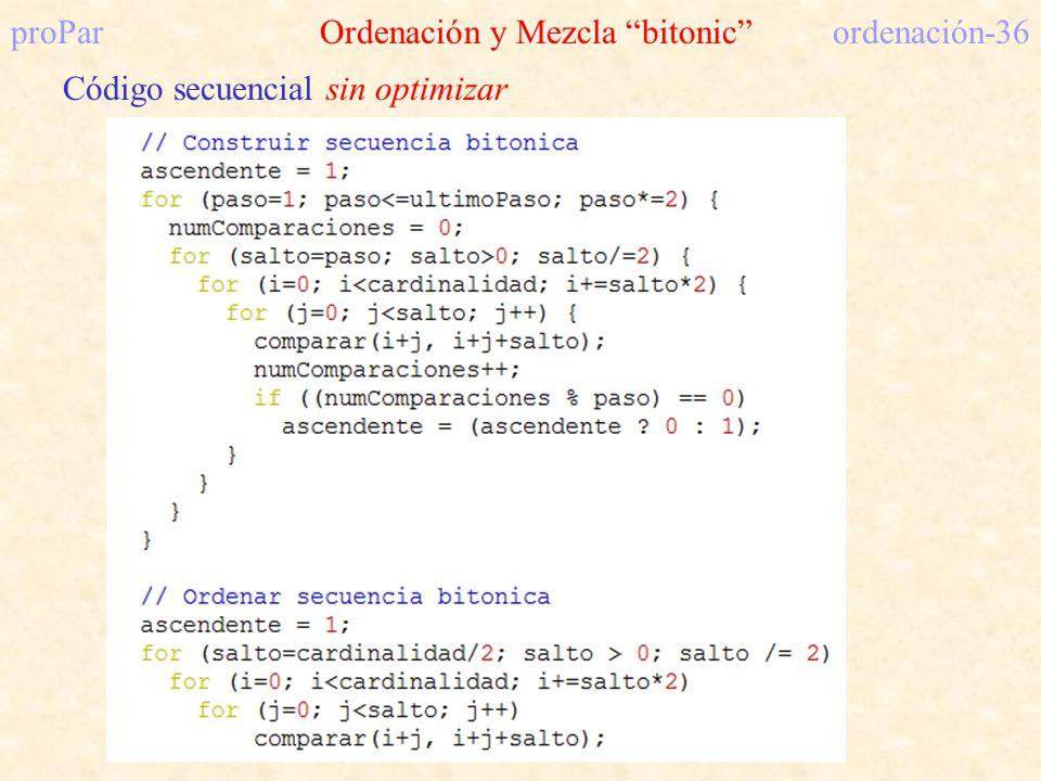 proPar Ordenación y Mezcla bitonic ordenación-36 Código secuencial sin optimizar