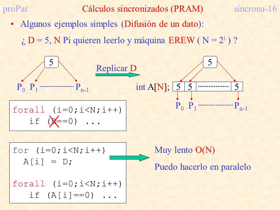 proParCálculos sincronizados (PRAM)síncrona-16 Algunos ejemplos simples (Difusión de un dato): ¿ D = 5, N Pi quieren leerlo y máquina EREW ( N = 2 i )