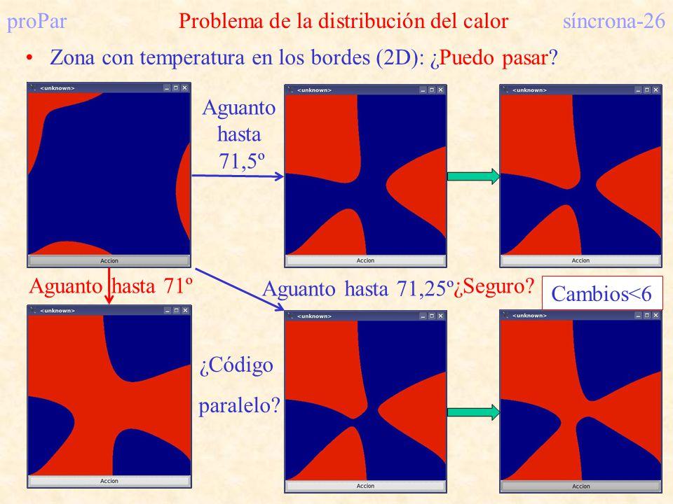 proParProblema de la distribución del calorsíncrona-26 Zona con temperatura en los bordes (2D): ¿Puedo pasar? ¿Código paralelo? Aguanto hasta 71º Agua