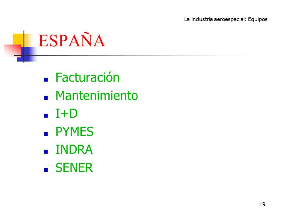 La industria aeroespacial: Equipos 19 ESPAÑA Facturación Mantenimiento I+D PYMES INDRA SENER