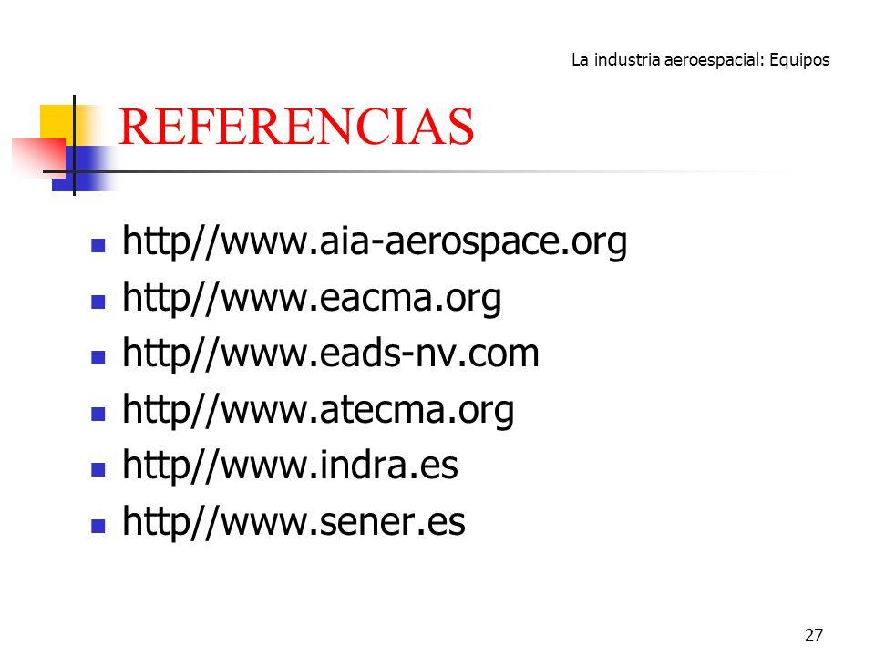La industria aeroespacial: Equipos 27 REFERENCIAS http//www.aia-aerospace.org http//www.eacma.org http//www.eads-nv.com http//www.atecma.org http//www