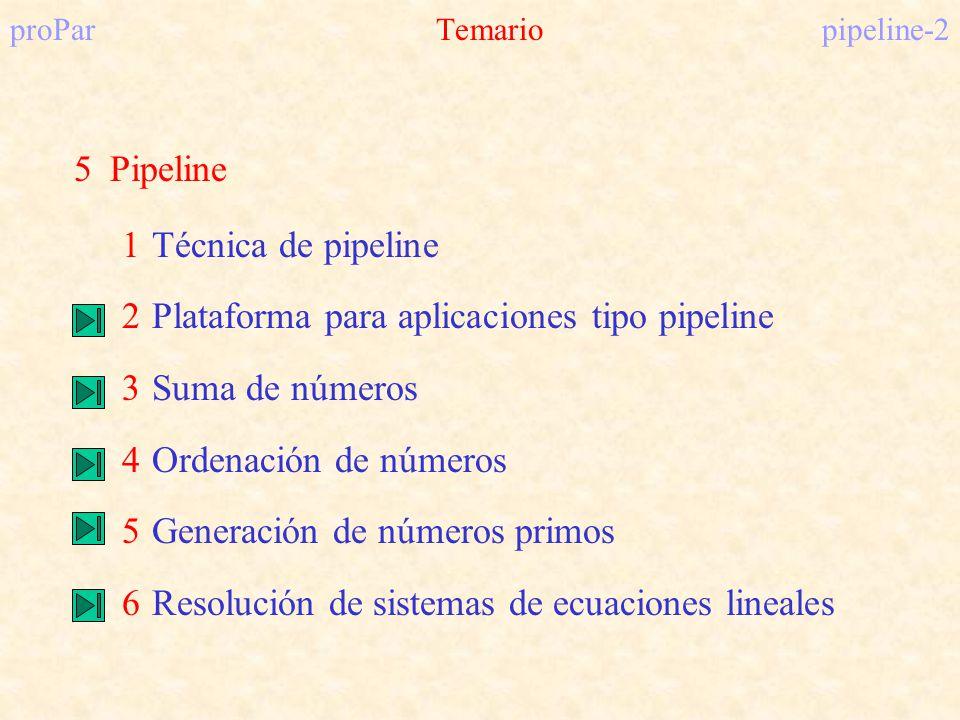 proParTemariopipeline-2 5Pipeline 1Técnica de pipeline 2Plataforma para aplicaciones tipo pipeline 3Suma de números 4Ordenación de números 5Generación