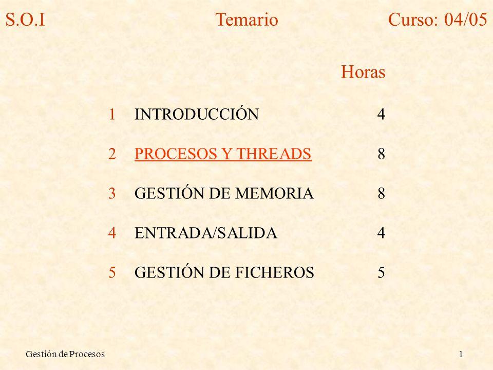 Gestión de Procesos1 Horas 1INTRODUCCIÓN4 2PROCESOS Y THREADS8 3GESTIÓN DE MEMORIA8 4ENTRADA/SALIDA4 5GESTIÓN DE FICHEROS5 S.O.ITemarioCurso: 04/05