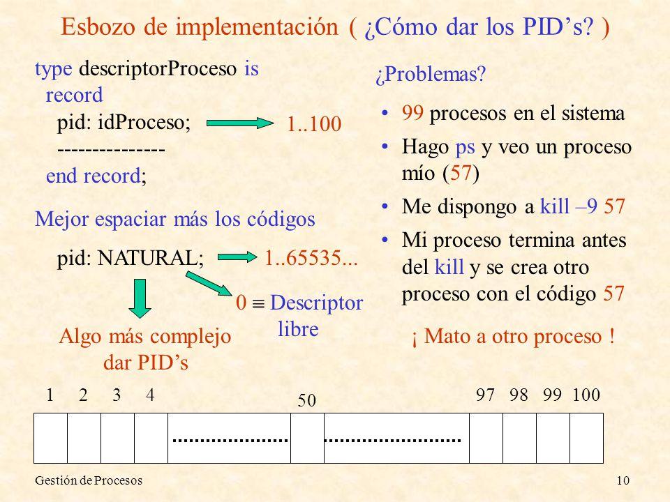 Gestión de Procesos10 Esbozo de implementación ( ¿Cómo dar los PIDs? ) type descriptorProceso is record pid: idProceso; --------------- end record; 12