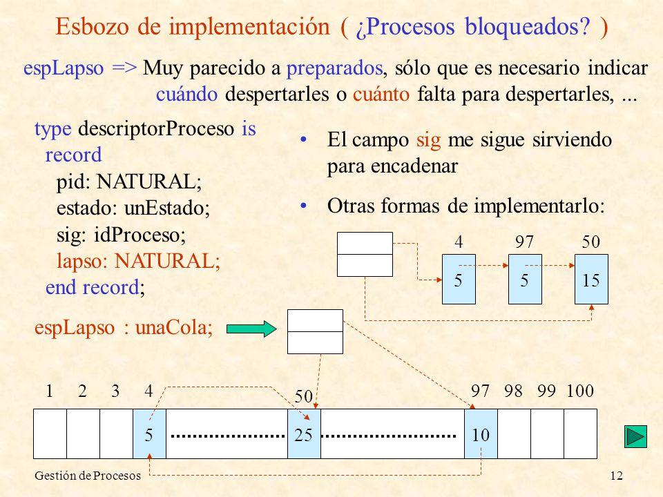 Gestión de Procesos12 Esbozo de implementación ( ¿Procesos bloqueados? ) espLapso => Muy parecido a preparados, sólo que es necesario indicar cuándo d