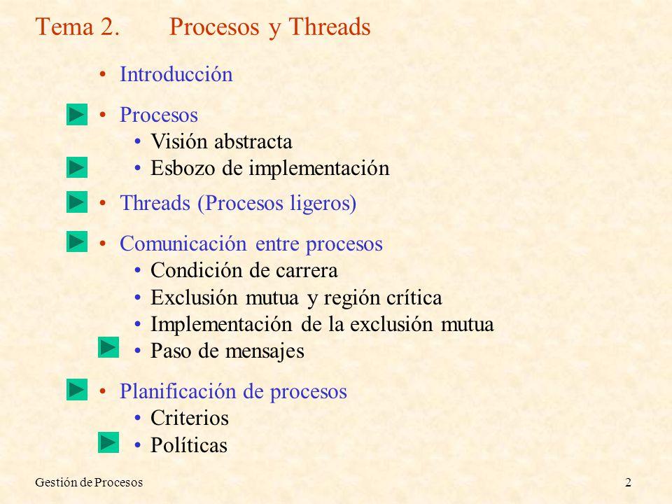 Gestión de Procesos2 Tema 2.Procesos y Threads Introducción Procesos Visión abstracta Esbozo de implementación Threads (Procesos ligeros) Comunicación