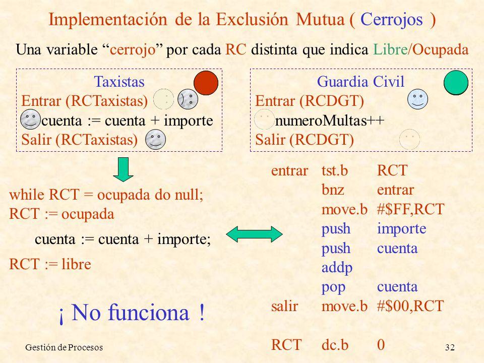 Gestión de Procesos32 Implementación de la Exclusión Mutua ( Cerrojos ) Una variable cerrojo por cada RC distinta que indica Libre/Ocupada Taxistas En