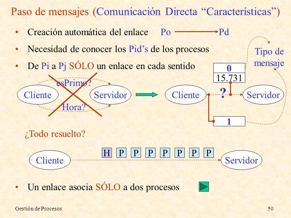 Gestión de Procesos50 Paso de mensajes (Comunicación Directa Características) Creación automática del enlace PoPd Necesidad de conocer los Pids de los