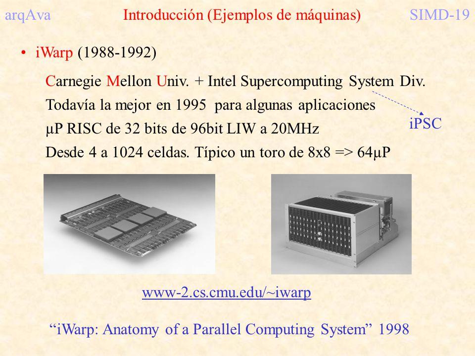 arqAva Introducción (Ejemplos de máquinas)SIMD-19 iWarp (1988-1992) Carnegie Mellon Univ. + Intel Supercomputing System Div. Todavía la mejor en 1995