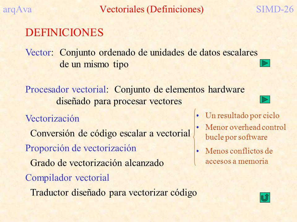 arqAva Vectoriales (Definiciones)SIMD-26 DEFINICIONES Vector:Conjunto ordenado de unidades de datos escalares de un mismo tipo Vectorización Conversió