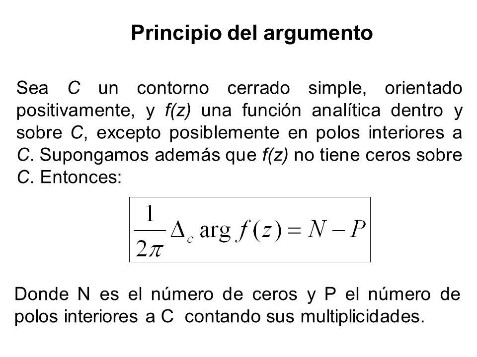Sea C un contorno cerrado simple, orientado positivamente, y f(z) una función analítica dentro y sobre C, excepto posiblemente en polos interiores a C