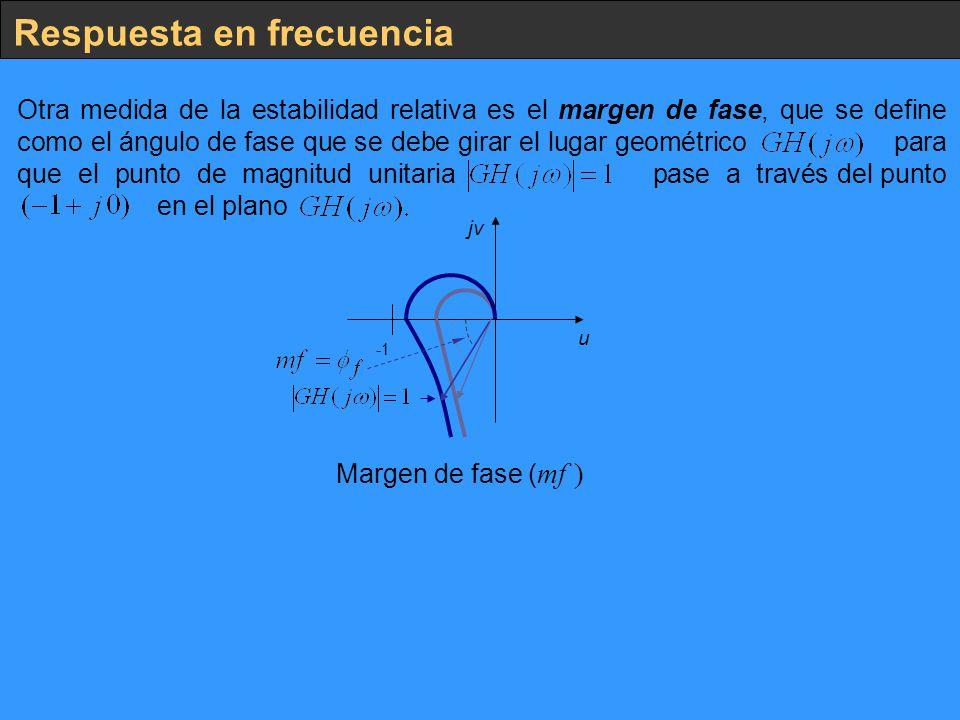 Respuesta en frecuencia Otra medida de la estabilidad relativa es el margen de fase, que se define como el ángulo de fase que se debe girar el lugar g