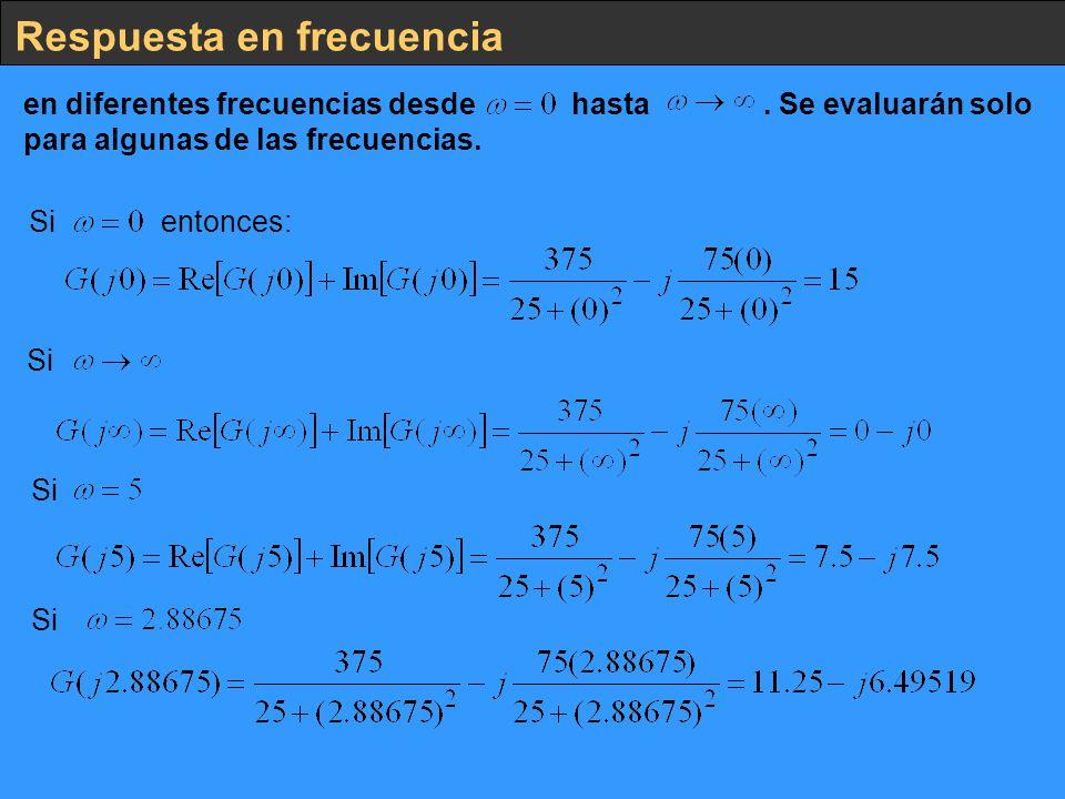 Respuesta en frecuencia en diferentes frecuencias desde hasta. Se evaluarán solo para algunas de las frecuencias. Si entonces: Si