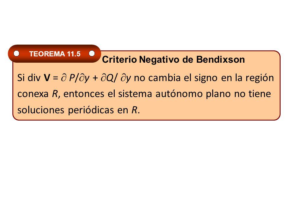 Si div V = P/ y + Q/ y no cambia el signo en la región conexa R, entonces el sistema autónomo plano no tiene soluciones periódicas en R. TEOREMA 11.5