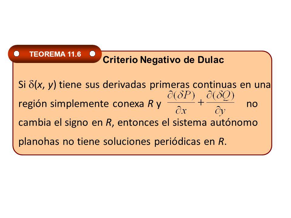 Si (x, y) tiene sus derivadas primeras continuas en una región simplemente conexa R y no cambia el signo en R, entonces el sistema autónomo planohas n
