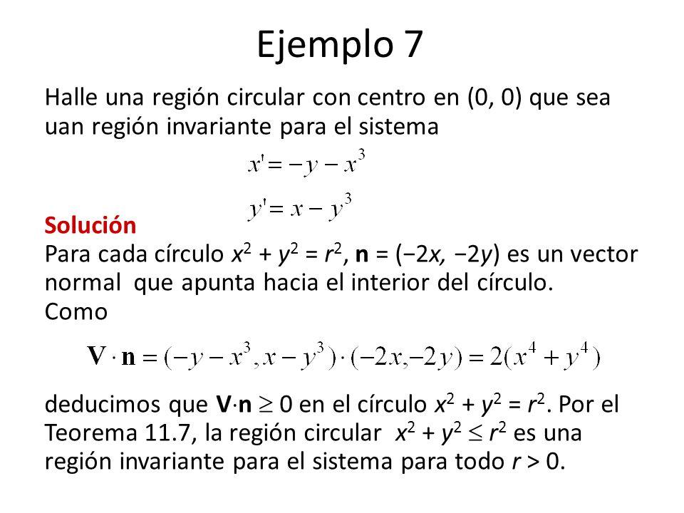 Ejemplo 7 Halle una región circular con centro en (0, 0) que sea uan región invariante para el sistema Solución Para cada círculo x 2 + y 2 = r 2, n = (2x, 2y) es un vector normal que apunta hacia el interior del círculo.