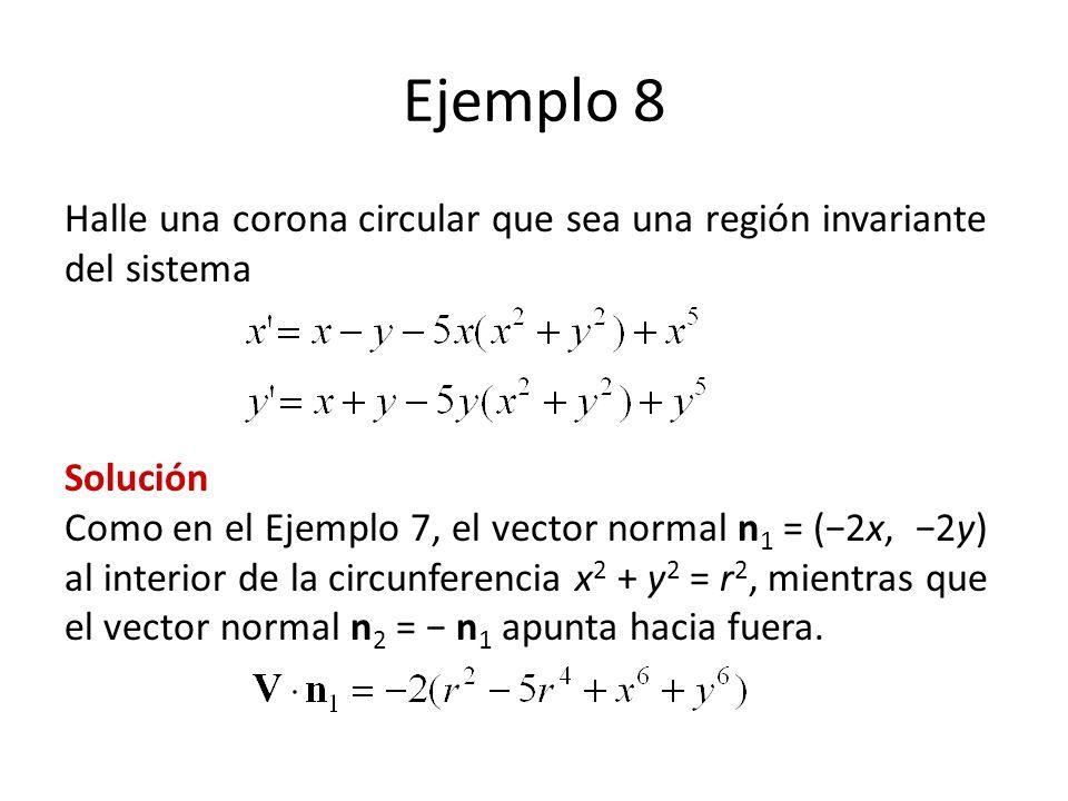 Ejemplo 8 Halle una corona circular que sea una región invariante del sistema Solución Como en el Ejemplo 7, el vector normal n 1 = (2x, 2y) al interior de la circunferencia x 2 + y 2 = r 2, mientras que el vector normal n 2 = n 1 apunta hacia fuera.