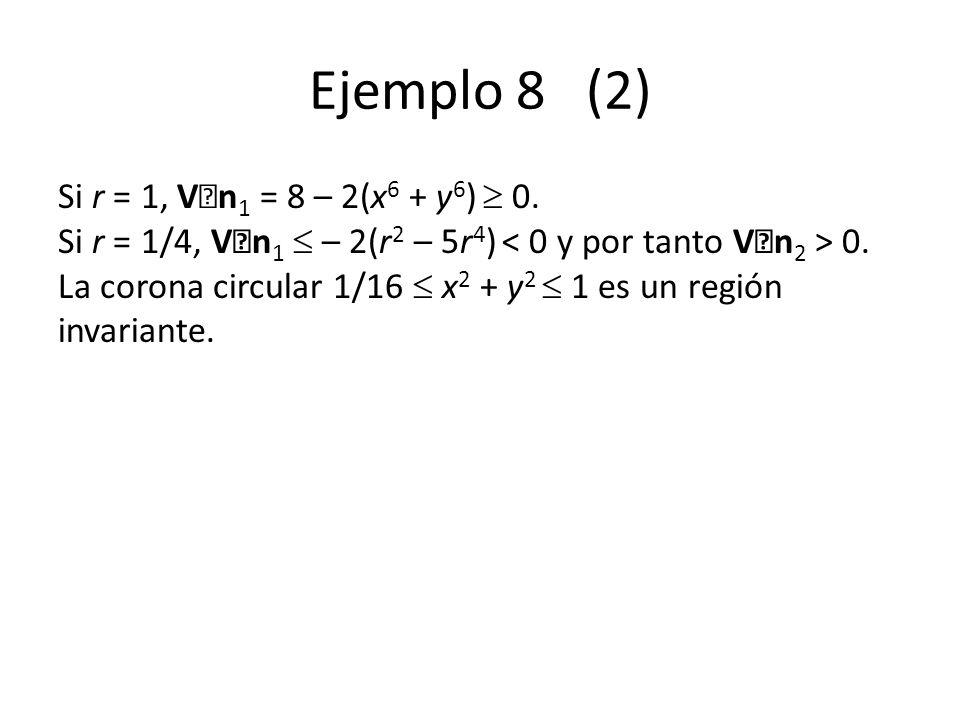 Ejemplo 8 (2) Si r = 1, V n 1 = 8 – 2(x 6 + y 6 ) 0. Si r = 1/4, V n 1 – 2(r 2 – 5r 4 ) 0. La corona circular 1/16 x 2 + y 2 1 es un región invariante