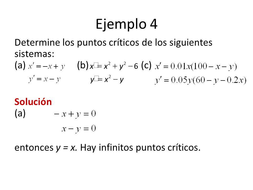 Ejemplo 4 Determine los puntos críticos de los siguientes sistemas: (a) (b)(c) Solución (a) entonces y = x. Hay infinitos puntos críticos. yxy yxx 2 2