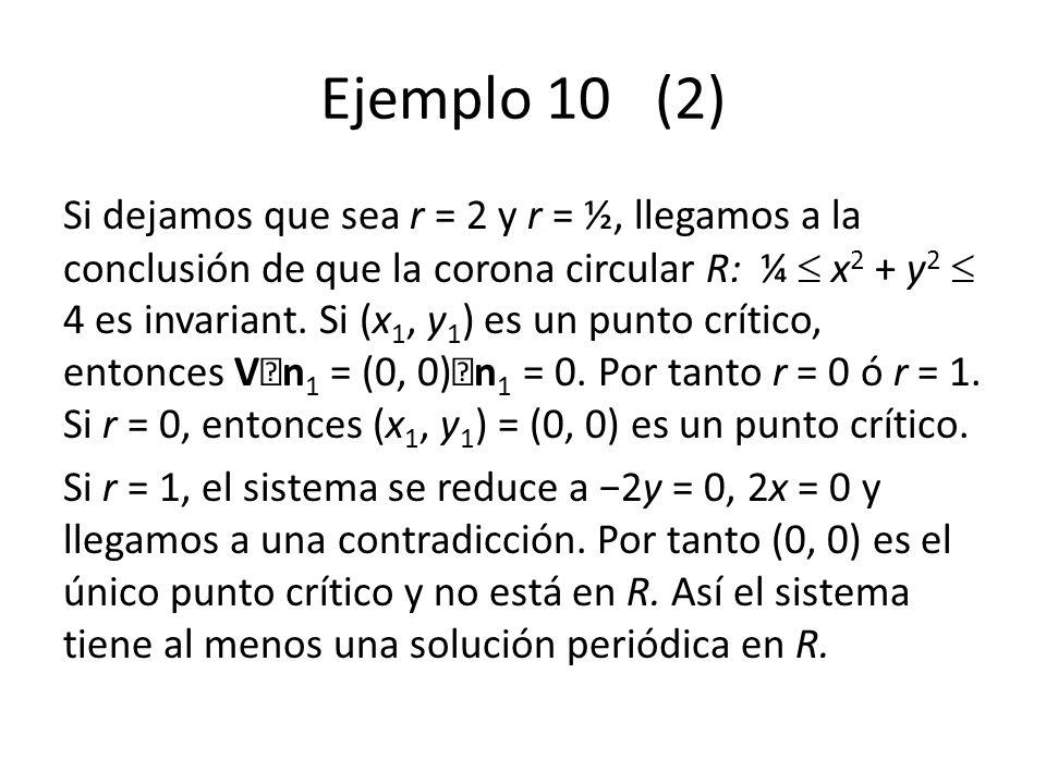 Ejemplo 10 (2) Si dejamos que sea r = 2 y r = ½, llegamos a la conclusión de que la corona circular R: ¼ x 2 + y 2 4 es invariant. Si (x 1, y 1 ) es u