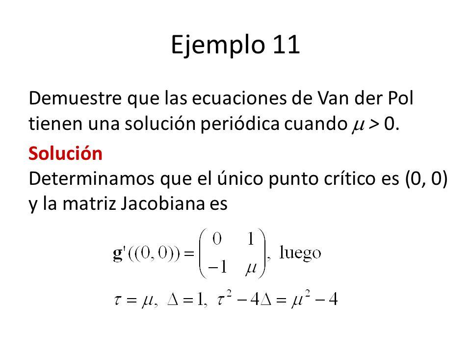 Ejemplo 11 Demuestre que las ecuaciones de Van der Pol tienen una solución periódica cuando > 0. Solución Determinamos que el único punto crítico es (
