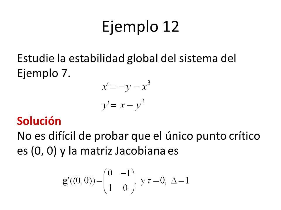 Ejemplo 12 Estudie la estabilidad global del sistema del Ejemplo 7. Solución No es difícil de probar que el único punto crítico es (0, 0) y la matriz