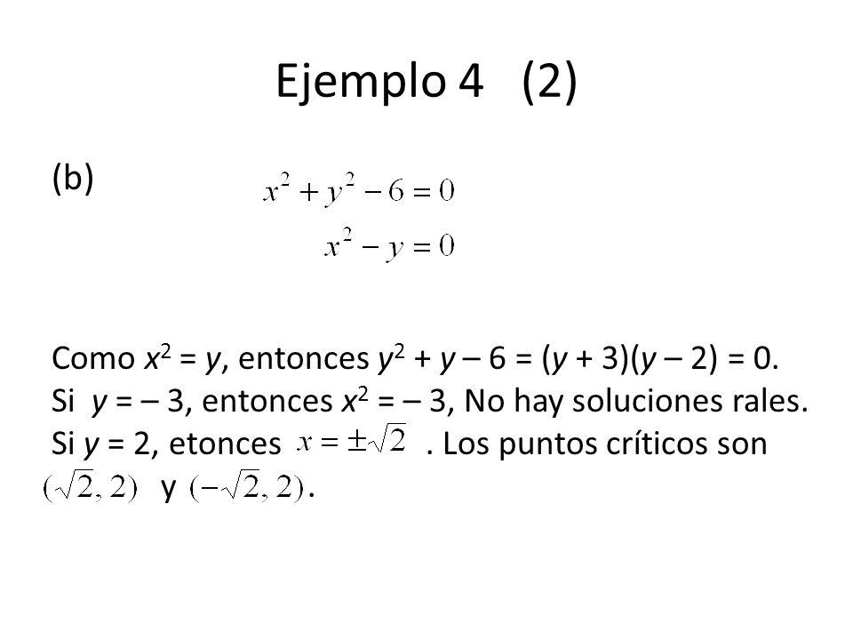 Ejemplo 4 (2) (b) Como x 2 = y, entonces y 2 + y – 6 = (y + 3)(y – 2) = 0. Si y = – 3, entonces x 2 = – 3, No hay soluciones rales. Si y = 2, etonces.