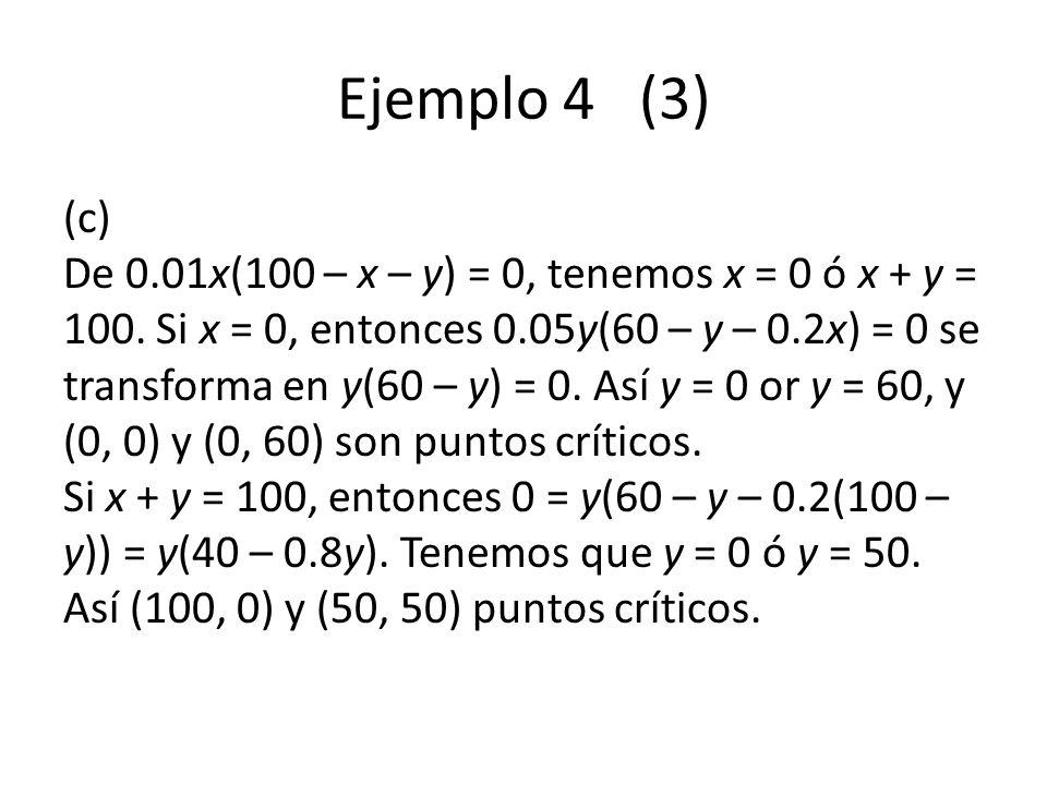 Ejemplo 4 (3) (c) De 0.01x(100 – x – y) = 0, tenemos x = 0 ó x + y = 100. Si x = 0, entonces 0.05y(60 – y – 0.2x) = 0 se transforma en y(60 – y) = 0.
