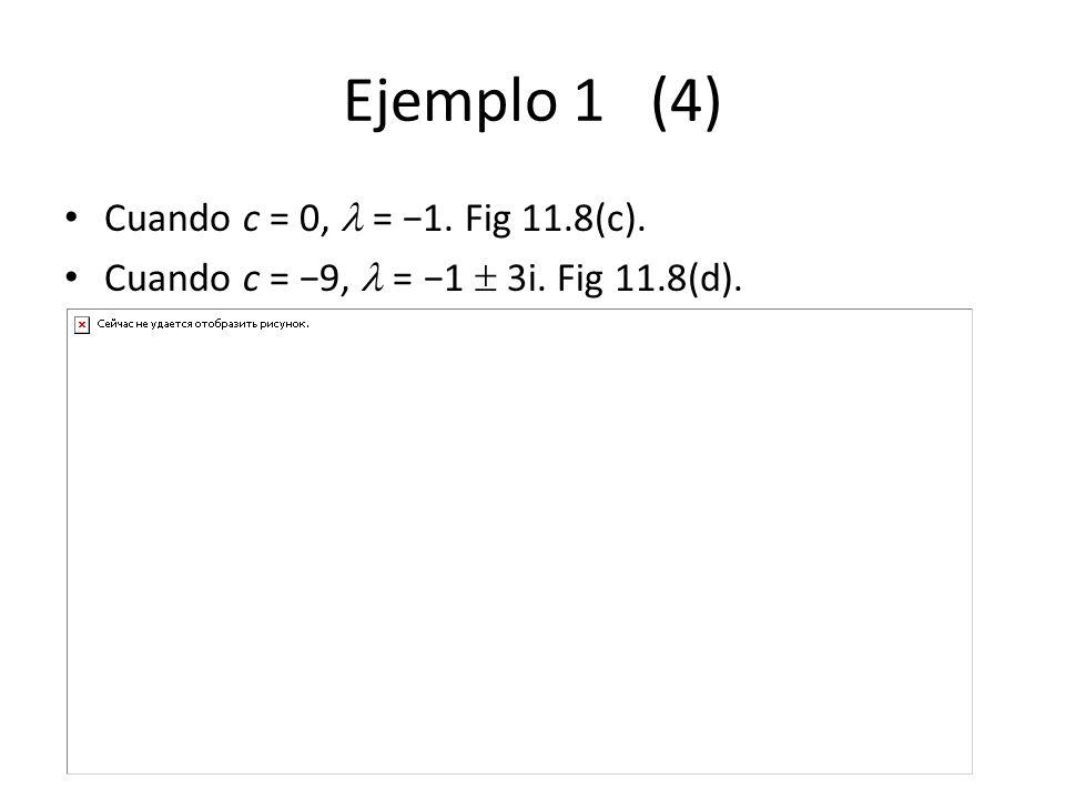 Ejemplo 1 (4) Cuando c = 0, = 1. Fig 11.8(c). Cuando c = 9, = 1 3i. Fig 11.8(d).