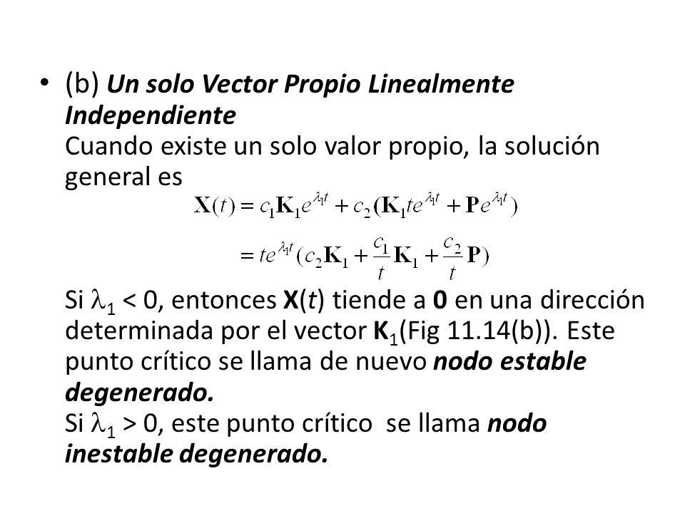 (b) Un solo Vector Propio Linealmente Independiente Cuando existe un solo valor propio, la solución general es Si 1 0, este punto crítico se llama nod
