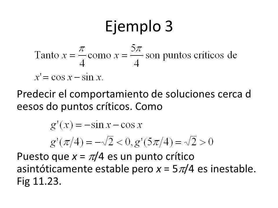 Ejemplo 3 Predecir el comportamiento de soluciones cerca d eesos do puntos críticos. Como Puesto que x = /4 es un punto crítico asintóticamente establ