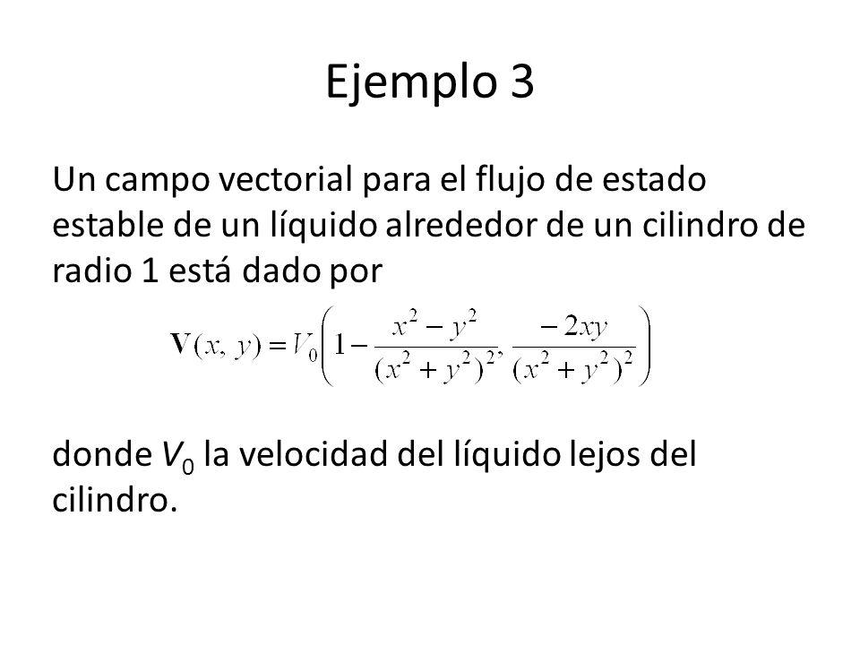 Ejemplo 3 Un campo vectorial para el flujo de estado estable de un líquido alrededor de un cilindro de radio 1 está dado por donde V 0 la velocidad de