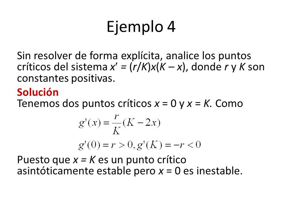 Ejemplo 4 Sin resolver de forma explícita, analice los puntos críticos del sistema x = (r/K)x(K – x), donde r y K son constantes positivas. Solución T