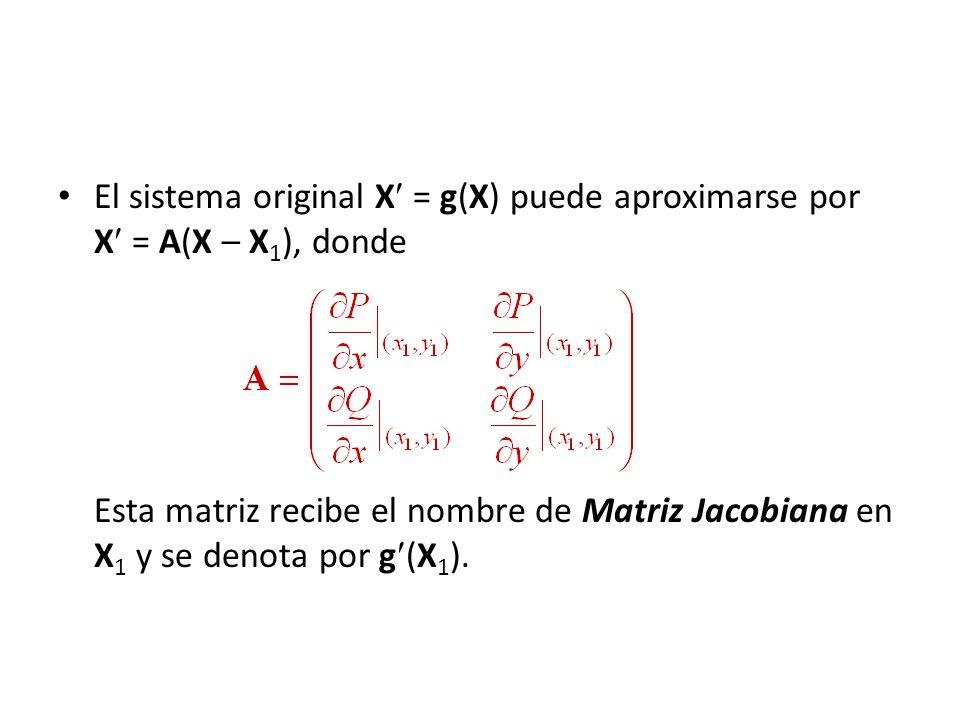 El sistema original X = g(X) puede aproximarse por X = A(X – X 1 ), donde Esta matriz recibe el nombre de Matriz Jacobiana en X 1 y se denota por g (X
