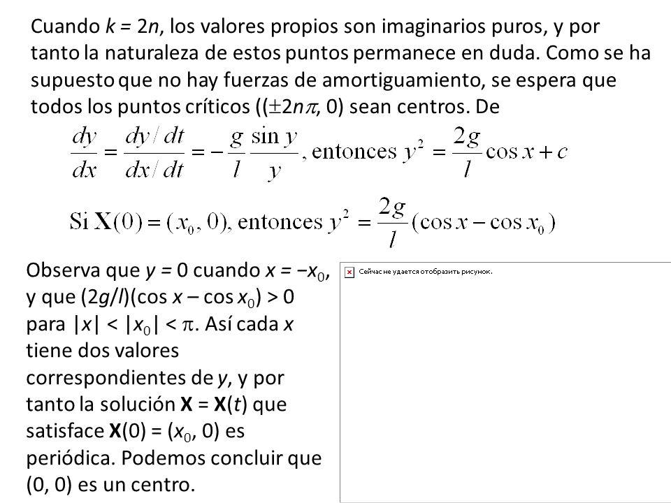 Cuando k = 2n, los valores propios son imaginarios puros, y por tanto la naturaleza de estos puntos permanece en duda. Como se ha supuesto que no hay