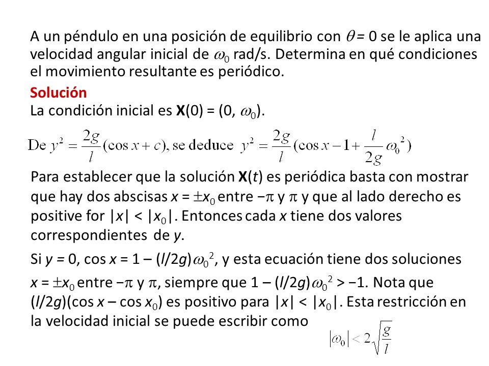 A un péndulo en una posición de equilibrio con = 0 se le aplica una velocidad angular inicial de 0 rad/s. Determina en qué condiciones el movimiento r