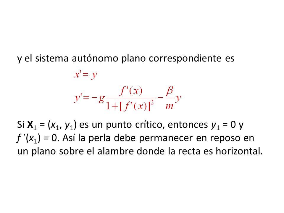 y el sistema autónomo plano correspondiente es Si X 1 = (x 1, y 1 ) es un punto crítico, entonces y 1 = 0 y f (x 1 ) = 0. Así la perla debe permanecer