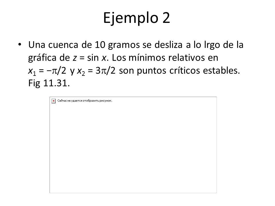 Ejemplo 2 Una cuenca de 10 gramos se desliza a lo lrgo de la gráfica de z = sin x. Los mínimos relativos en x 1 = /2 y x 2 = 3 /2 son puntos críticos
