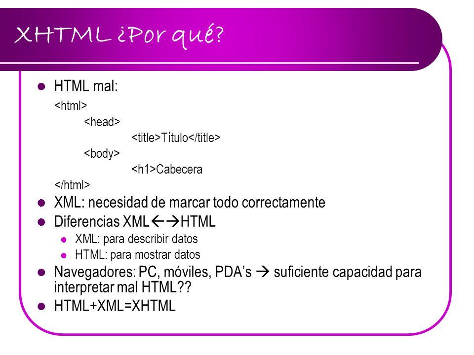 XHTML: Características Documentos bien formados Etiquetas en minúsculas Elementos deben cerrarse: Esto es un párrafo (OJO: espacio) Elementos bien emparejados: HTML mal : This text is bold and italic XHTML: This text is bold and italic