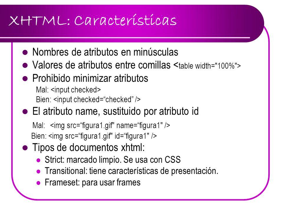 XHTML: Características Nombres de atributos en minúsculas Valores de atributos entre comillas Prohibido minimizar atributos Mal: Bien: El atributo nam