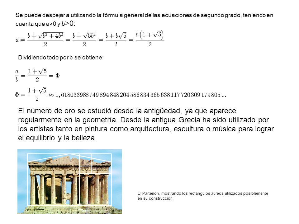 Los términos de la sucesión de fibonacci vienen dados por la siguiente función recursiva: Se puede obtener una expresión que nos proporcione el término n-esimo de la sucesión, a ésta se la conoce como fórmula de Binet (1843), aunque se dice que Euler ya la publicó en 1765 : Donde Phi es el número áureo y phi su recíproco (phi=1-Phi)