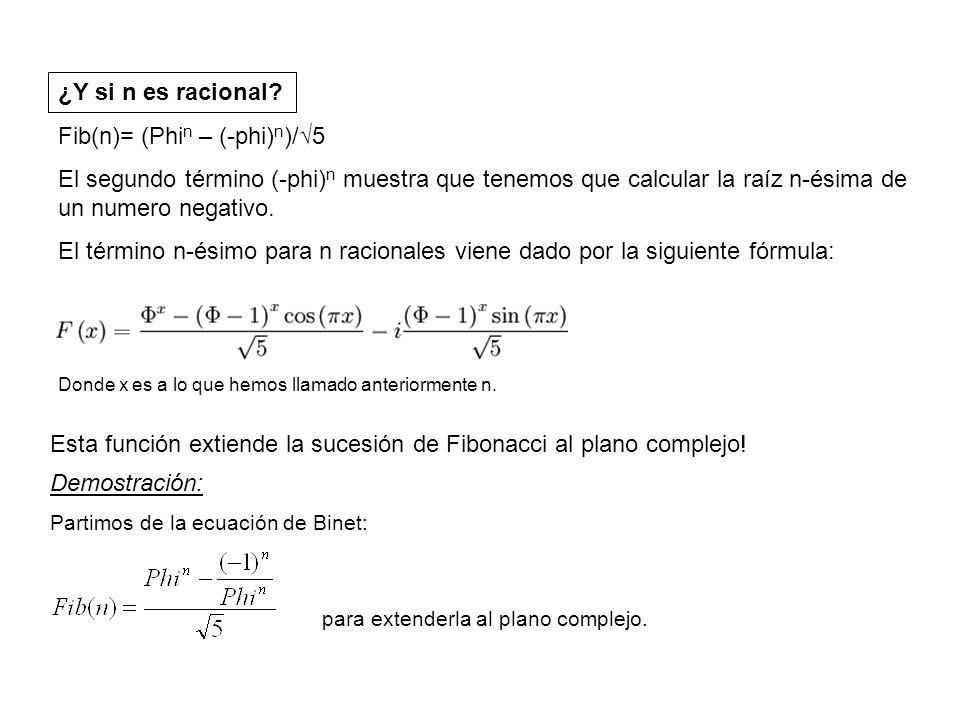 Para ello utilizamos la ecuación de Euler: ó Sustituyendo esto en la fórmula de Binet obtenemos : Expresamos e^iπn utilizando la expresión: Sustituyendo de nuevo en la fórmula de Binet obtenemos la fórmula esperada: